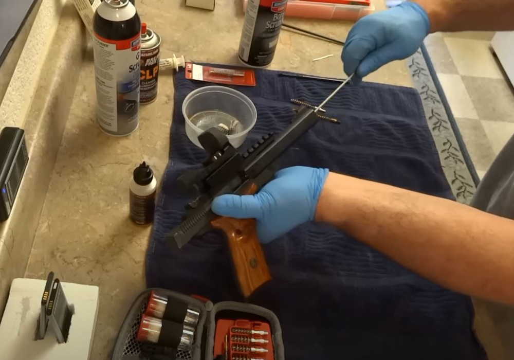 Use your cleaning rod and cleaning patch to clean the bore